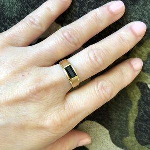 14K Yellow Gold Sapphire Unisex Ring